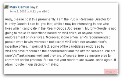 Official statement to VinTank pro-bono offer of $100k worth of tech support